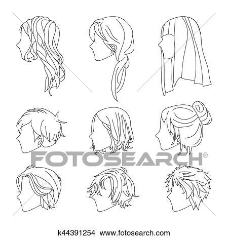 Clipart Collection Coiffure Vue Cote Pour Homme Femme Cheveux