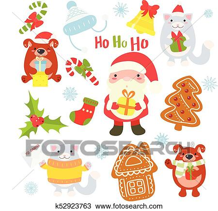 Collection of Christmas characters , cute animals and Santa