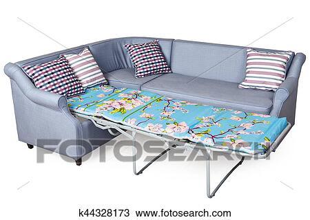 Corner Sleeper Sofa Folding Bed Upholstered In Fabric Light