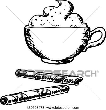 Cup of coffee with cream and wafer rolls Clipart ...