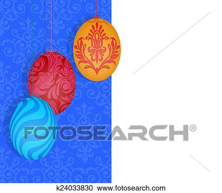 Easter Eggs Hanging On A Split Damask Background Clipart K24033830 Fotosearch