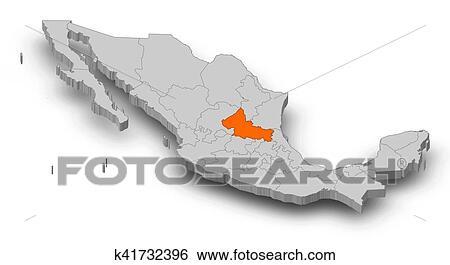 Stock Illustration Of Map Mexico San Luis Potosi 3d