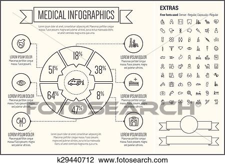Clipart of medical line design infographic template k29440712 medical infographic template and elements the template includes the following set of icons hospital signboard tooth band aid foot ear poison ovary maxwellsz