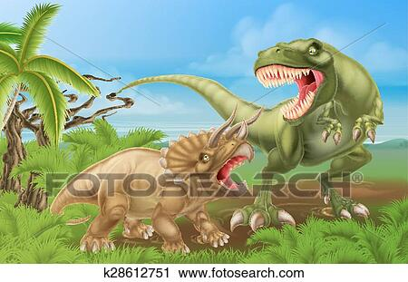clipart of t rex triceratops dinosaur fight scene k28612751 search