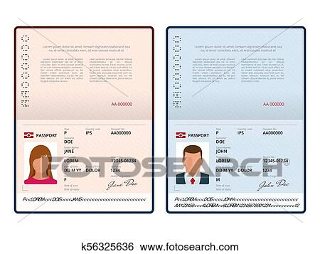 Vector Blank open passport template  International passport with sample  personal data page  Document for  Isolated vector illustration Clip Art