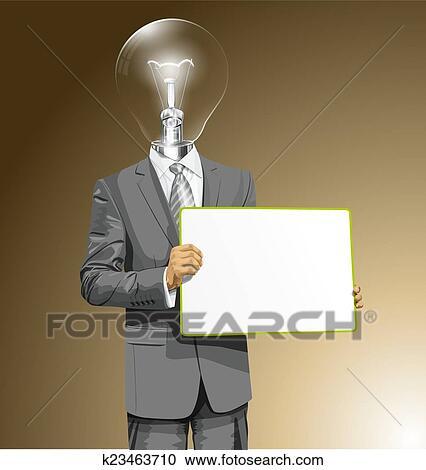 Wandplank Met Lamp.Vector Lamp Hoofd Zakenmens Met Lege Schrijf Plank Clipart
