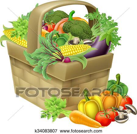 Vegetable Basket Clip Art | k34083807 | Fotosearch