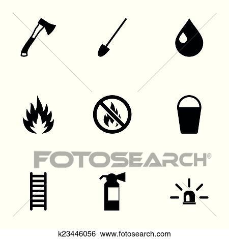 Clip Art Vektor Schwarz Feuerwehrmann Symbol Satz K23446056