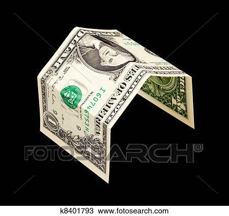 a13085cfc ألبوم الصور - بسيط, البيت., من, دولار واحد, ملاحظة البنك, عزل عزل, عن,  الأسود
