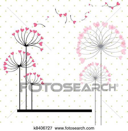 abstract love flower on polka dot background clip art k8406727 fotosearch fotosearch