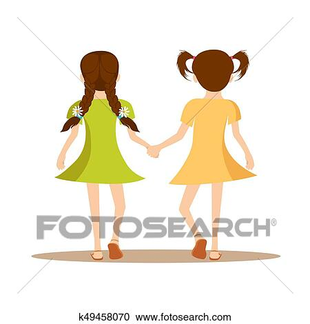 Clipart Of Back View Of Two Cute Little Girls Holding Hands Together
