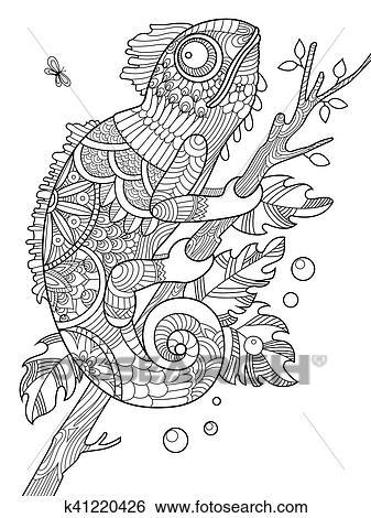 Chamaleon Ausmalbilder Fur Erwachsene Vektor Clip Art