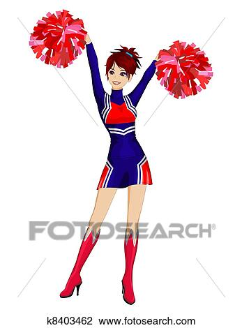 clipart of cheerleader with red poms k8403462 search clip art rh fotosearch com pom pom clipart black and white pom pom clipart free