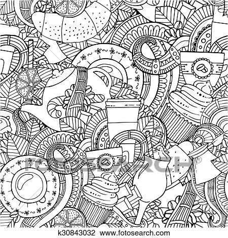 Clipart Of Coffee And Tea Doodle Background In Vector With Paisley