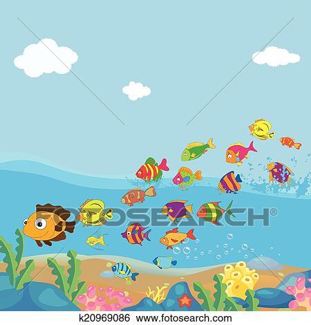 Clip Art Familie Von Lustig Fische Unter Dass Meer K20969086