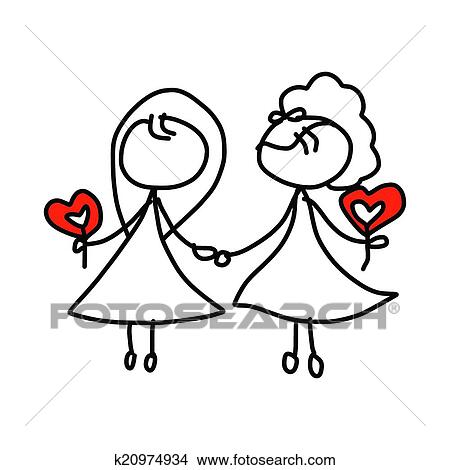 clipart of hand drawing cartoon happy couple wedding k20974934 rh fotosearch com wedding couple clipart free download wedding couple clipart