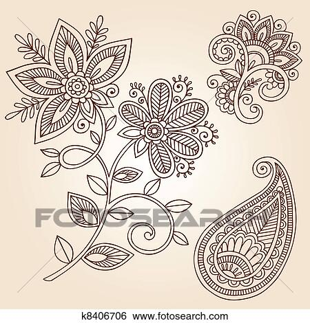 Clip Art Of Henna Flower Paisley Doodle Vector K8406706 Search