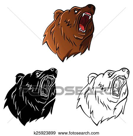 Clip Art - libro colorear, oso, carácter k25923899 - Buscar Clip Art ...