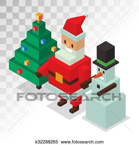 Père Noël Bonhomme De Neige Icônes Isométrique 3d Vecteur Illustration Clipart