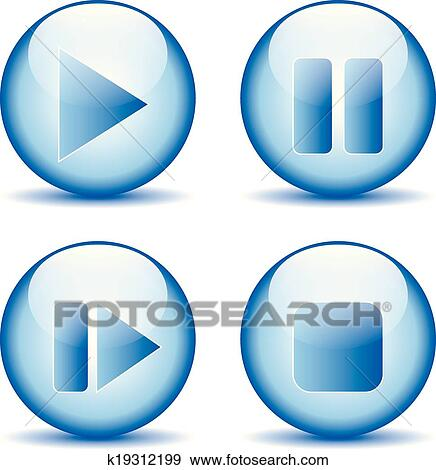 clip art of play pause stop forward buttons k19312199 search rh fotosearch com clip art button up shirt clipart button i vote for