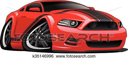 Clip Art Of Red Muscle Car Cartoon Illustration K35146996 Search