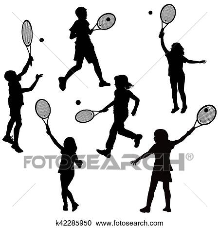 Stock Illustrations Of Silhouettes Of Children Playing Tennis