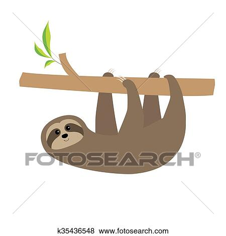 Sloth Hanging On Tree Branch Cute Cartoon Character Wild Joungle Animal Collection Baby Education Isolated White Background Flat Design Clip Art K35436548 Fotosearch