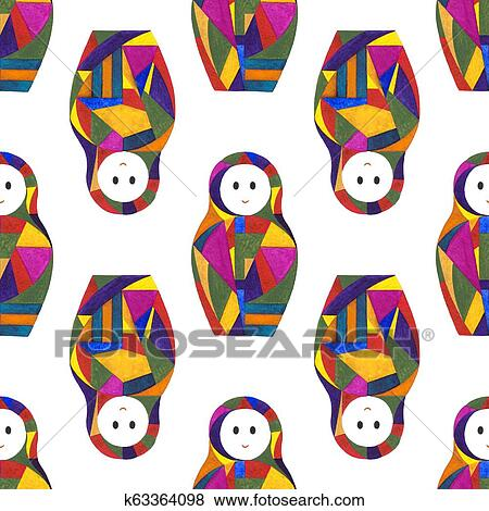 Watercolor Abstract Girls Seamless Pattern Nesting Doll