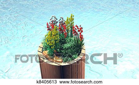 Wooden Terrarium With Water Drawing K8405613