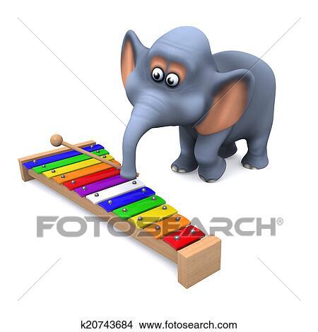 Dessins 3d Elephant Jeux Les Xylophone K20743684 Recherche