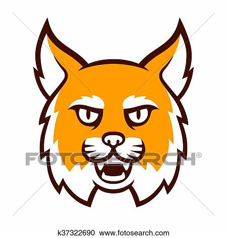 clipart of angry bobcat mascot head k37322690 search clip art rh fotosearch com