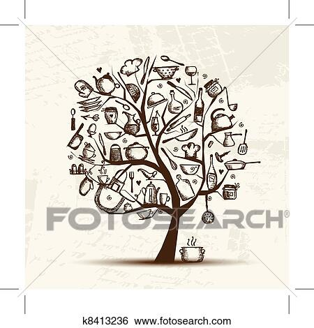 clip art of art tree with kitchen utensils sketch drawing for your