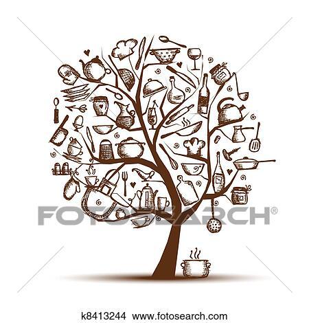 Clipart - arte, albero, con, utensili cucina, schizzo, disegno, per ...