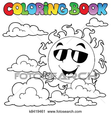 Clipart - ausmalbilder, mit, sonne, und, wolkenlandschaft, 1 ...