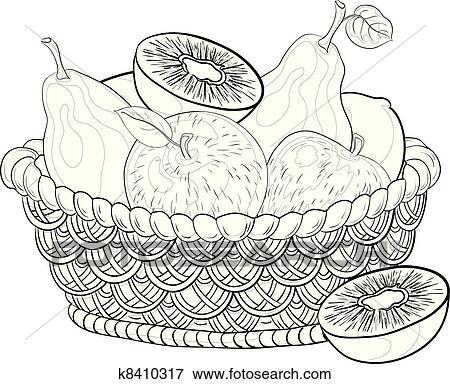 Clip Art Of Basket With Fruits Contours K8410317