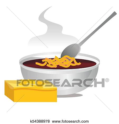 bowl of chili and hot buttered cornbread clip art k54388978 fotosearch fotosearch