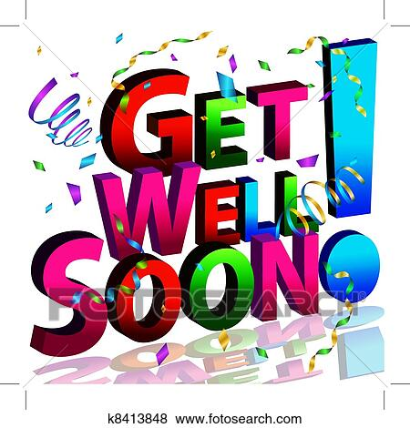 clip art of get well soon message k8413848 search clipart