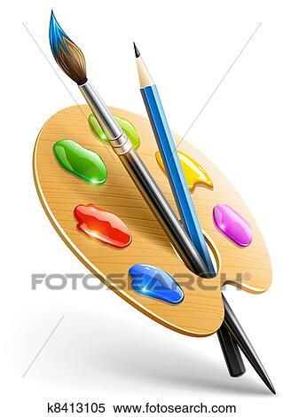 pincel dibujo. arte, paleta, con, pincel, y, lápiz, herramientas, para, dibujo, vector, ilustración, eps10., transparente, objetos, utilizado, sombras, luces, pincel dibujo