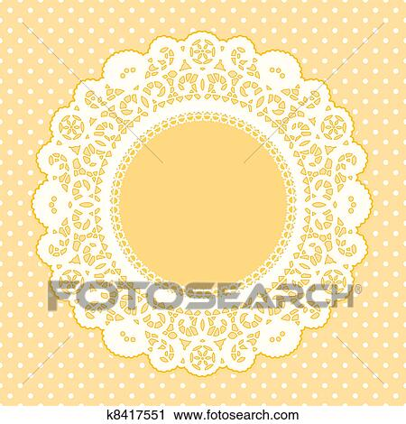 vintage lace doily picture frame on pastel yellow polka dot background copy space for pictures and text for albums scrapbooks birthdays weddings