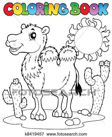 Clip Art - libro colorear, desierto, con, camello, 2 k8419457 ...