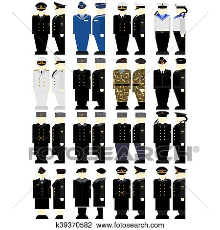 Clip Art - Russian military uniforms of sailors and naval officers.  Fotosearch - Search Clipart 90feafa87a7f