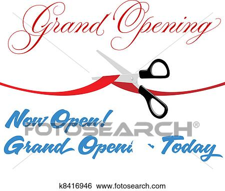 clip art of scissors cut grand opening today ribbon k8416946 rh fotosearch com grand opening clipart free download grand opening clip art black and white