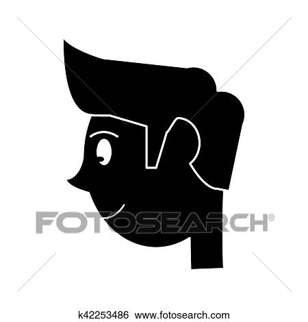 clip art of silhouette head young man smiling side k42253486