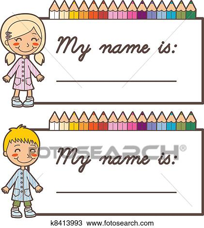 clipart of student name stickers k8413993 search clip art rh fotosearch com clipart name tag clipart name badge