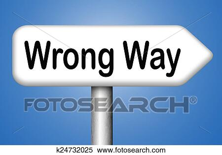 stock illustration of wrong way sign k24732025 search clipart