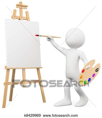 stock illustration of 3d artist painting on a canvas on an easel