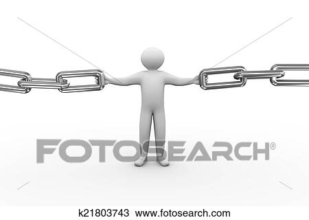 3d Illustration Of Person Holding Chain Human Character And White People