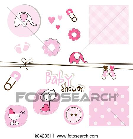 Clipart Of Baby Shower Elements K8423311 Search Clip Art