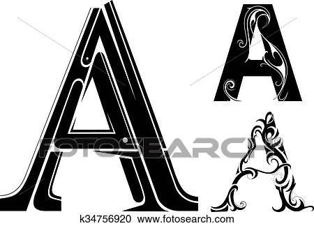 Decorative Letter A.Decorative Letter Shape Clipart