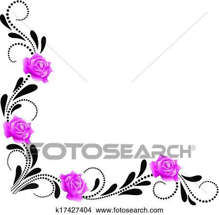 Clipart Ecke Dekorativ Blumen Verziehrung K17427404 Suche